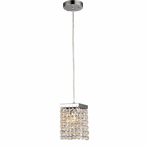 Warehouse Of Tiffany Jehra 1-light Square-shaped Crystal 6-inch Chrome Chandelier