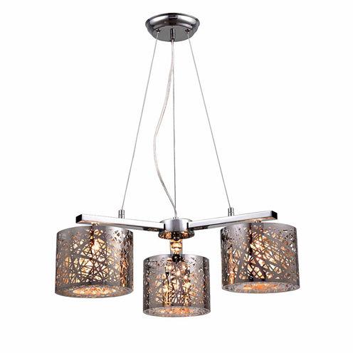 Warehouse Of Tiffany Abigail 3-light Chrome Triangular 22-inch Crystal Pendant Lamp