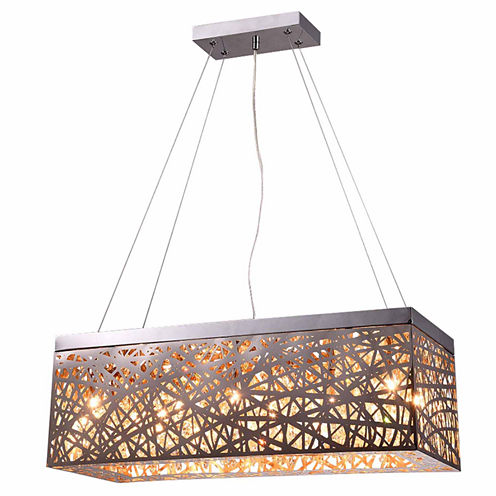 Warehouse Of Tiffany Layla 8-light Rectangular Chrome Crystal 24-inch Pendant