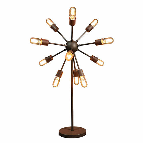 Warehouse Of Tiffany Celia 12-light Antique Bronze30-inch Edison Table Lamp with Bulbs