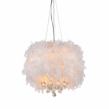 jcpenney.com | Warehouse Of Tiffany Iglesias Fluffy White Feathers and Crystal 3-light Pendant