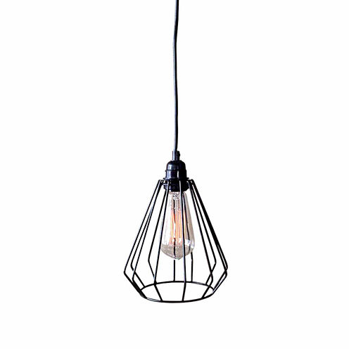 Warehouse Of Tiffany Antonia 1-light Black Adjustable Cord 7-inch Edison Pendant Lamp with Bulb