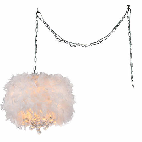 Warehouse Of Tiffany Finna 3-light Feathered 15-inch Chrome Swag Lamp