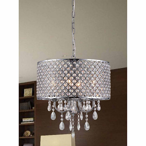 Warehouse Of Tiffany Oisetta 4 light Chrome FinishCrystal 17 Inch Round Chandelier