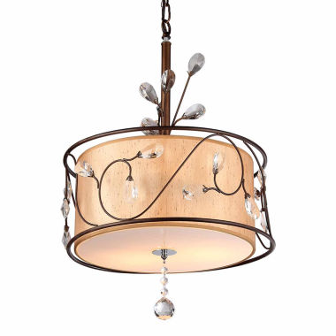 jcpenney.com | Warehouse Of Tiffany Amelia Bronzetone and Round Fabric Shade Chandelier