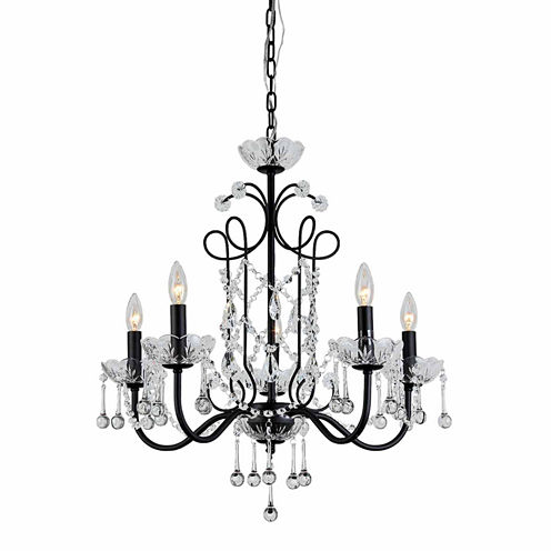 Warehouse Of Tiffany Donna 5-light Crystal 22-inchBlack Finish Chandelier