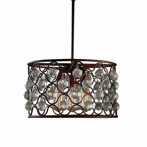 Warehouse Of Tiffany Hattie 3-light Rusty Steel 16-inch Edison Chandelier