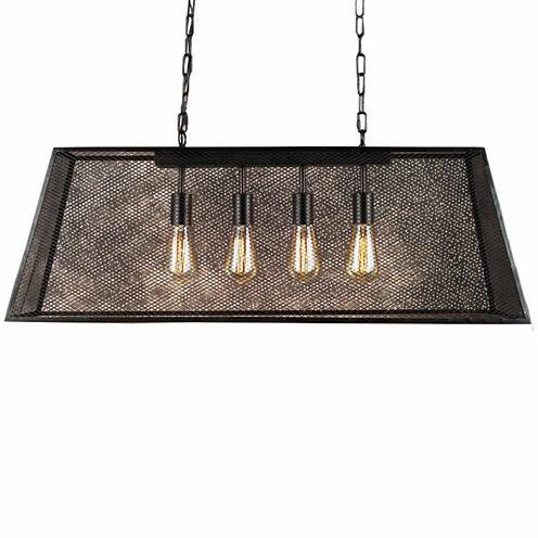 Warehouse Of Tiffany Lemuel 4-light Black 30-inchEdison Island Chandelier with Bulbs