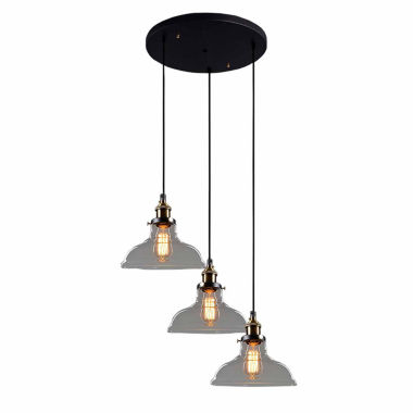 jcpenney.com | Warehouse Of Tiffany Esmeralda Adjustable Cord 3-light Clear Glass Edison Lamp