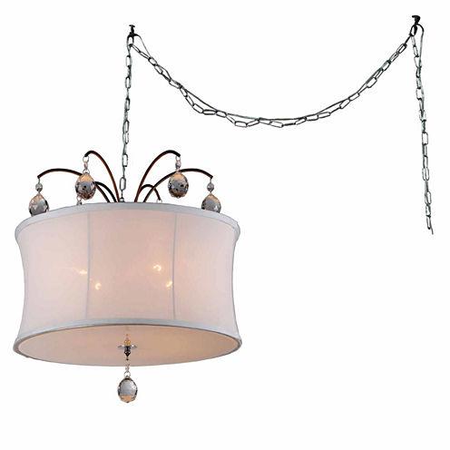 Warehouse Of Tiffany Felicity 5-light White Fabric18-inch Bronze Swag Lamp