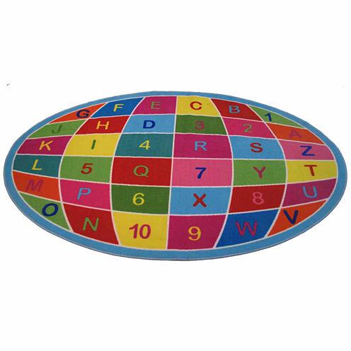 Alpha Numeric Globe Rectangular Rugs