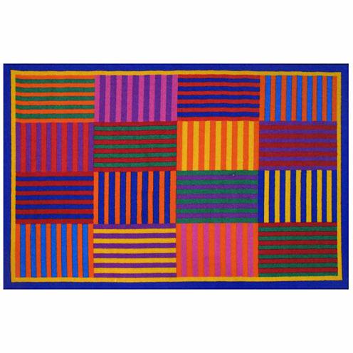 Rainbow Stripes Rectangular Rugs