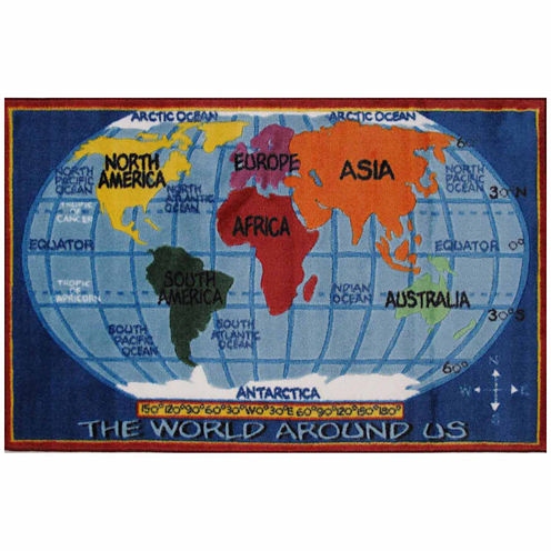 Kids World Map Supreme Rectangular Rugs