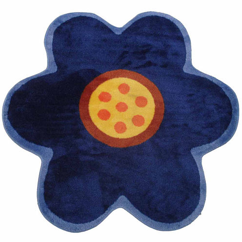 Blue Poppy Round Rugs