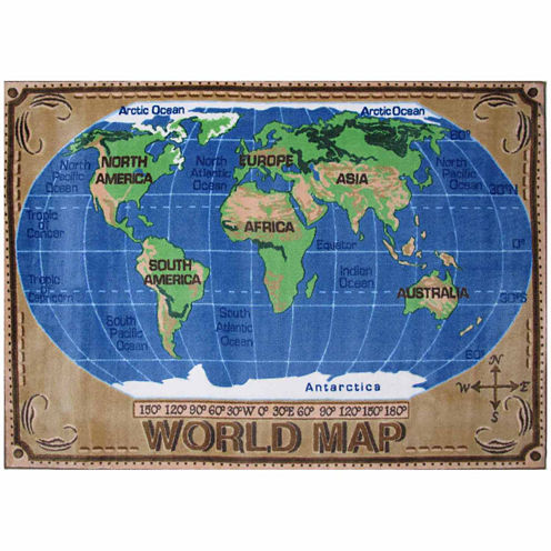 World Map Rectangular Rugs