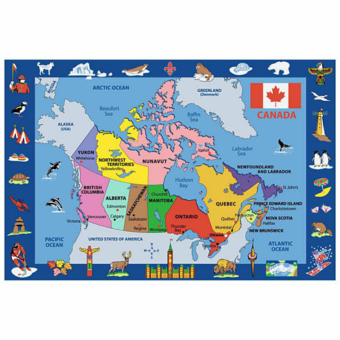 Map Of Canada Rectangular Rugs