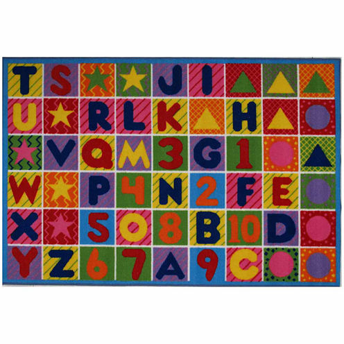 """31""""X47"""" Numbers & Letters Rectangle Accent Rug"""