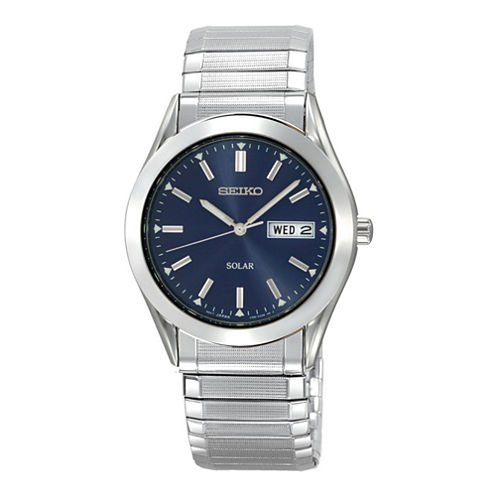 Seiko® Mens Blue Dial Stainless Steel Solar Watch SNE057