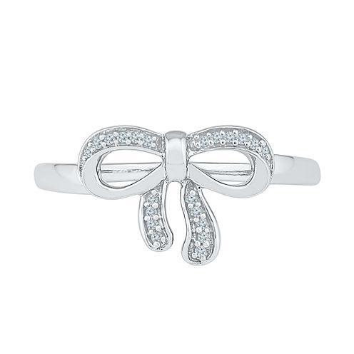 Womens White Diamond 10K Gold Delicate Ring