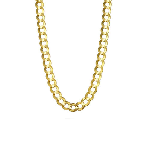 """14K Yellow Gold 7MM Curb Necklace 26"""""""