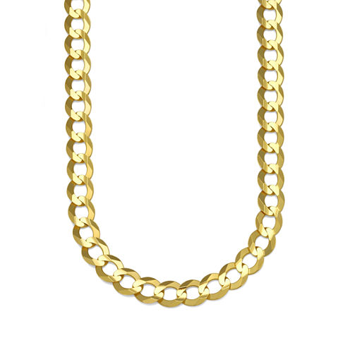 """10K Yellow Gold 8.2MM Curb Necklace 24"""""""