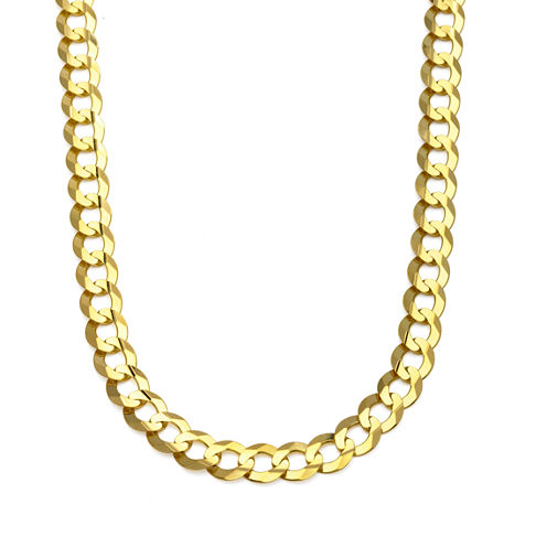 """10K Yellow Gold 10MM Curb Necklace 28"""""""