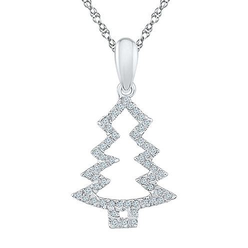 Womens 1/6 CT. T.W. White Diamond Sterling Silver Pendant Necklace
