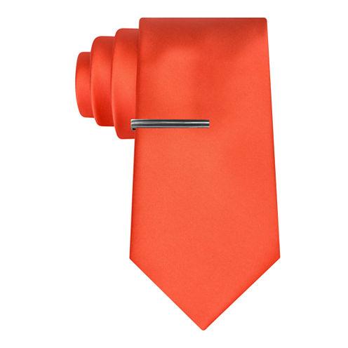J.Ferrar Satin Solid Tie Withtie Bar