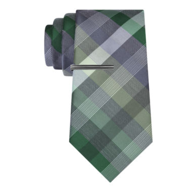 jcpenney.com | J.Ferrar Senior Heather Gingham Tie With Tie Bar