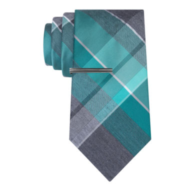 jcpenney.com | J.Ferrar Heather Open Plaid Tie With Tie Bar