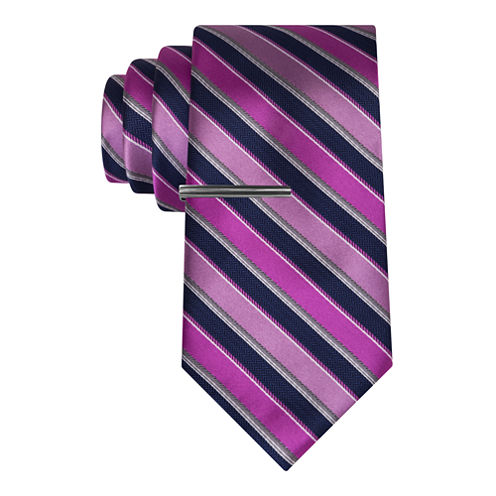 J.Ferrar Navy Ground Stripe Tie With Tie Bar