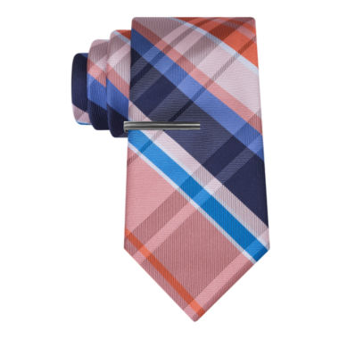 jcpenney.com | J.Ferrar Navy Open Plaid Tie With Tie Bar