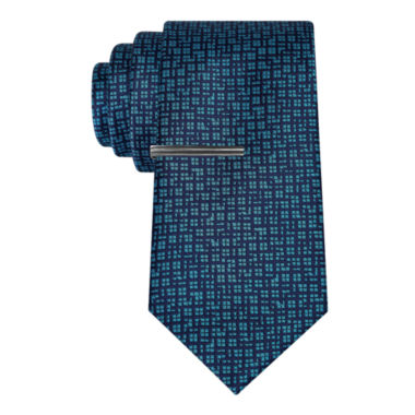 jcpenney.com | J.Ferrar Navy Ground Abstract Tie With Tie Bar