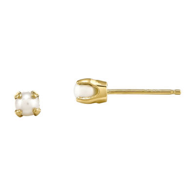 14K Yellow Gold Cultured Freshwater Pearl Bow-Tie Small Stud Earrings 6.5mm