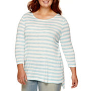Arizona Long-Sleeve High-Low Striped Tunic - Juniors Plus