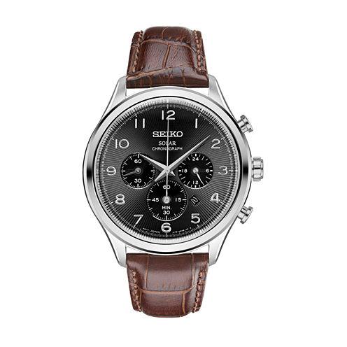 Seiko Mens Brown Strap Watch-Ssc565