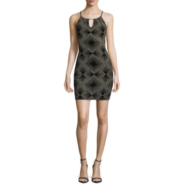 jcpenney.com | By&By High Neck Cut Away Triangle With Bar Dress-Juniors