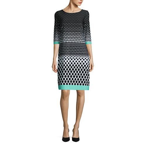 Studio 1 3/4 Sleeve Shift Dress