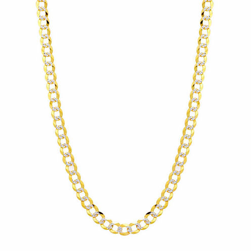14K Two Tone 5.7MM Pave Diamond Cut Curb Necklace 26""