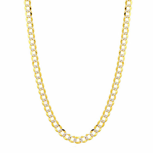 14K Two Tone 5.7MM Pave Diamond Cut Curb Necklace 30""