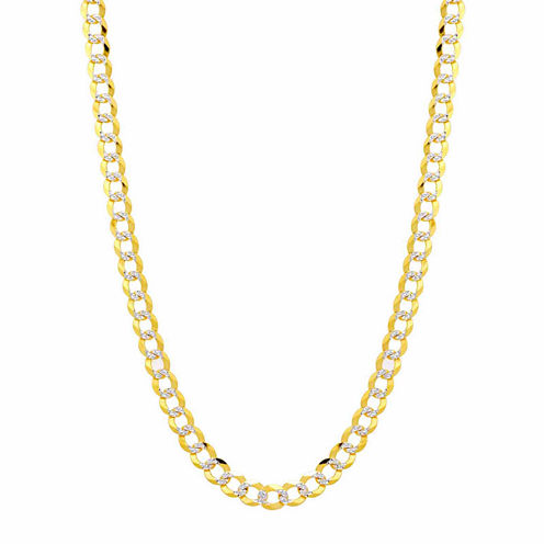14K Two Tone 5.7MM Pave Diamond Cut Curb Necklace 22""