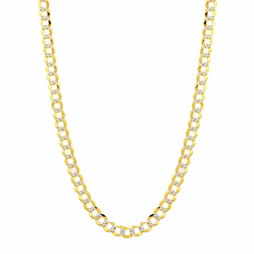 """14K Two Tone 5.7MM Pave Diamond Cut Curb Necklace 24"""""""