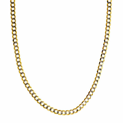 """14K Two Tone 3.65MM Diamond Cut Curb Necklace 22"""""""