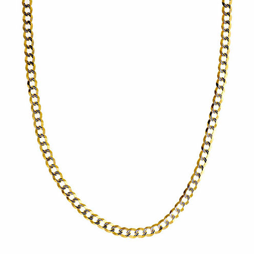 """14K Two Tone 3.65MM Diamond Cut Curb Necklace 26"""""""
