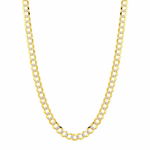 14K Two Tone 5.7MM Pave Diamond Cut Curb Necklace 20""
