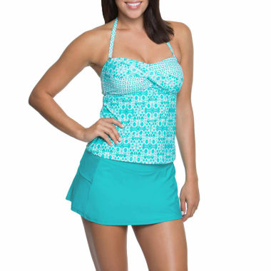 jcpenney.com | Aqua Couture Teal Bandeaukini  or Solid Swim Shorts