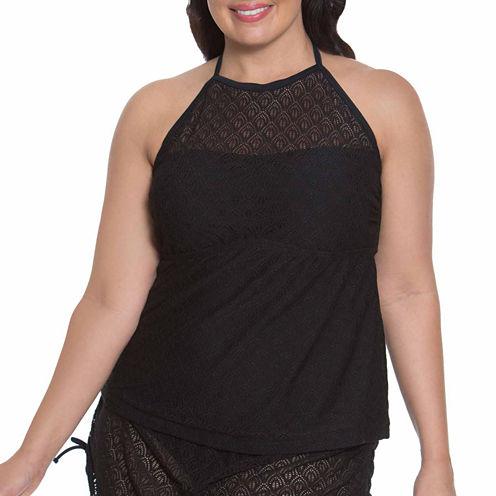 Aqua Couture Crochet Tankini Swimsuit Top-Plus