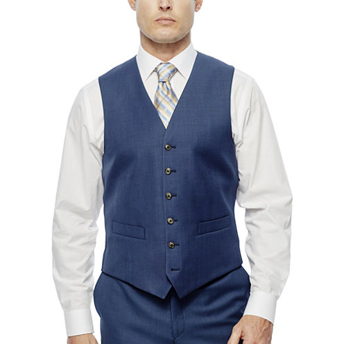 Stafford Travel Wool Blend Stretch Suit Vests-Classic Fit