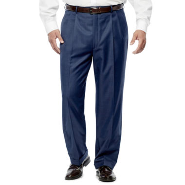 jcpenney.com | Stafford Travel Stretch Mid Blue Pleated Pants Big and Tall