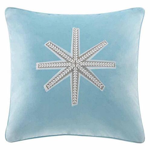 Madison Park Golden Snowflake Square Throw Pillow